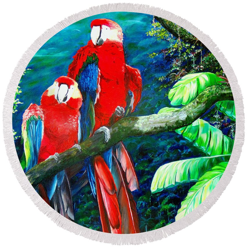 Caribbean Painting Green Wing Macaws Red Mountains Birds Trinidad And Tobago Birds Parrots Macaw Paintings Greeting Card  Round Beach Towel featuring the painting Who Me  by Karin Dawn Kelshall- Best