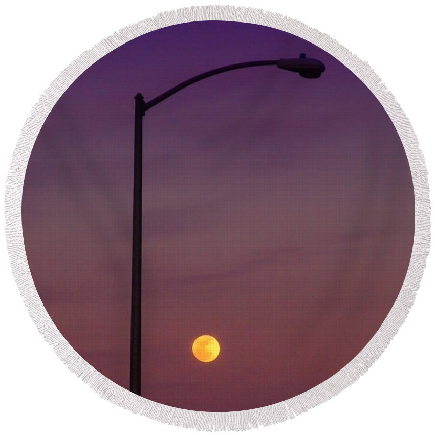 Moon Round Beach Towel featuring the photograph Who Needs A Lamp Post by Donna Blackhall