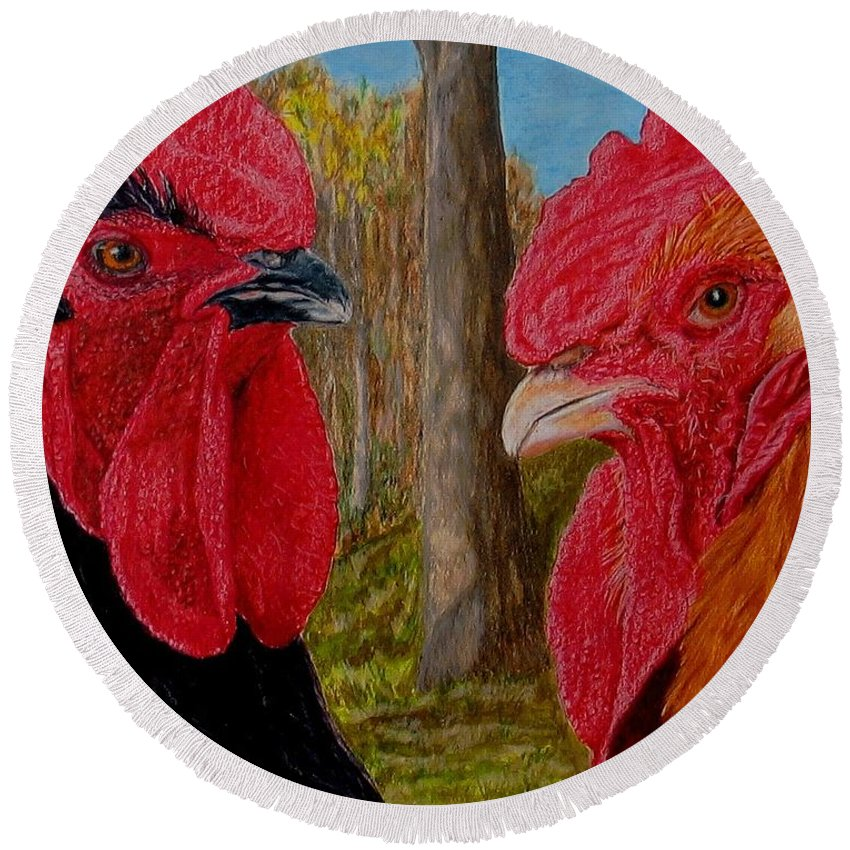 Roosters Round Beach Towel featuring the painting Who You Calling Chicken by Karen Ilari