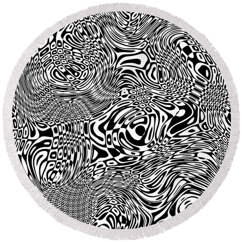 Abstract Round Beach Towel featuring the digital art Whoooaaa... by Tim Fillingim