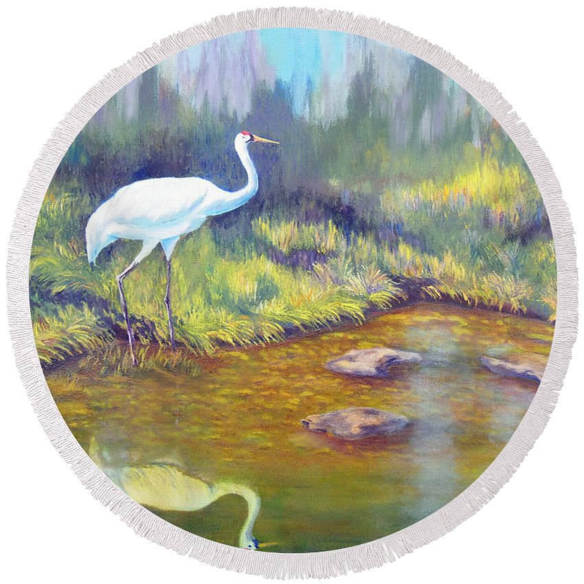 Whooping Crane Round Beach Towel featuring the painting Whooping Crane - Searching For Frogs by Brent Ciccone