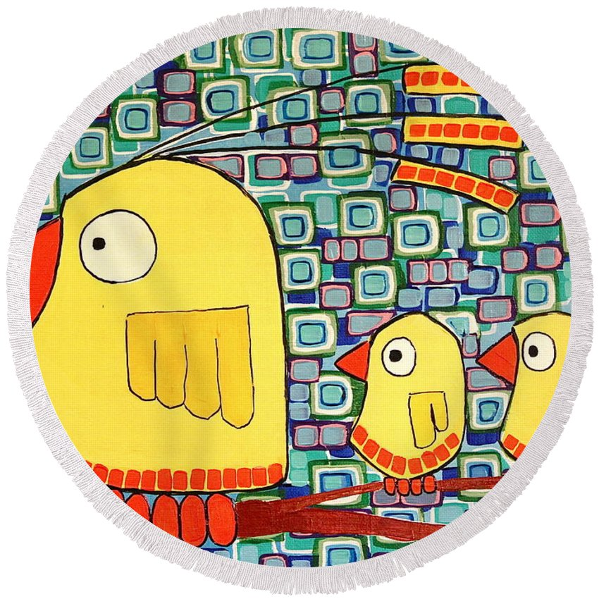 Macropointillism Round Beach Towel featuring the painting Whos Watching The Kids by Donna Howard
