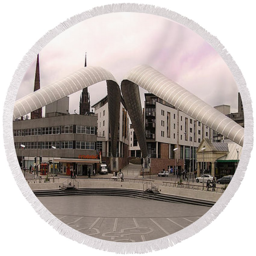 Frank Round Beach Towel featuring the photograph Whittle Arch Coventry by Neil Finnemore
