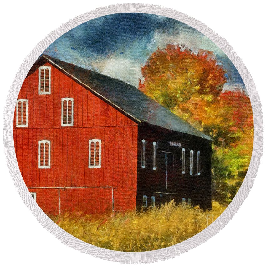 Why Do They Paint Barns Red Round Beach Towel featuring the photograph Why Do They Paint Barns Red? by Lois Bryan