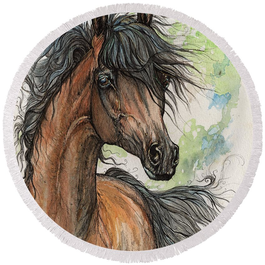 Horse Round Beach Towel featuring the painting Wieza Wiatrow Polish Arabian Mare Watercolor Painting by Angel Ciesniarska