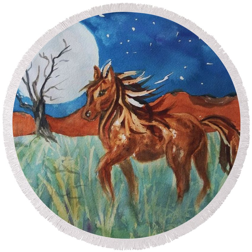 Horse Round Beach Towel featuring the painting Wild And Free by Ellen Levinson