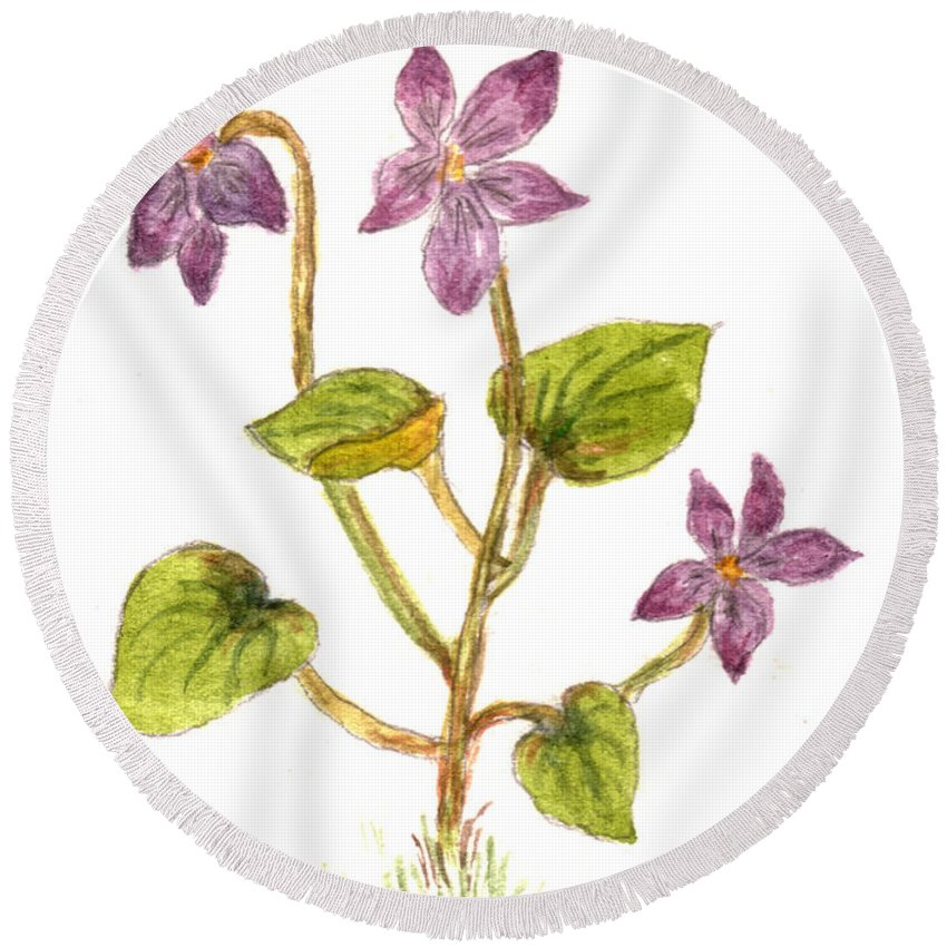 Wildflower Round Beach Towel featuring the painting Wild Dog Violet by Tis Art