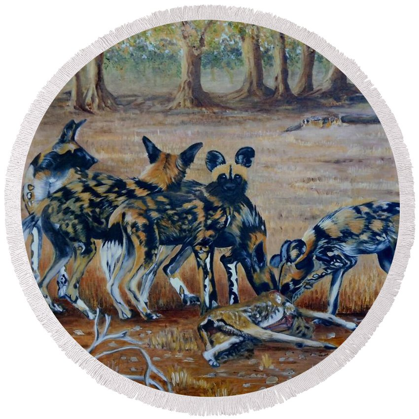 Wild Dogs Round Beach Towel featuring the painting Wild Dogs After The Chase by Caroline Street