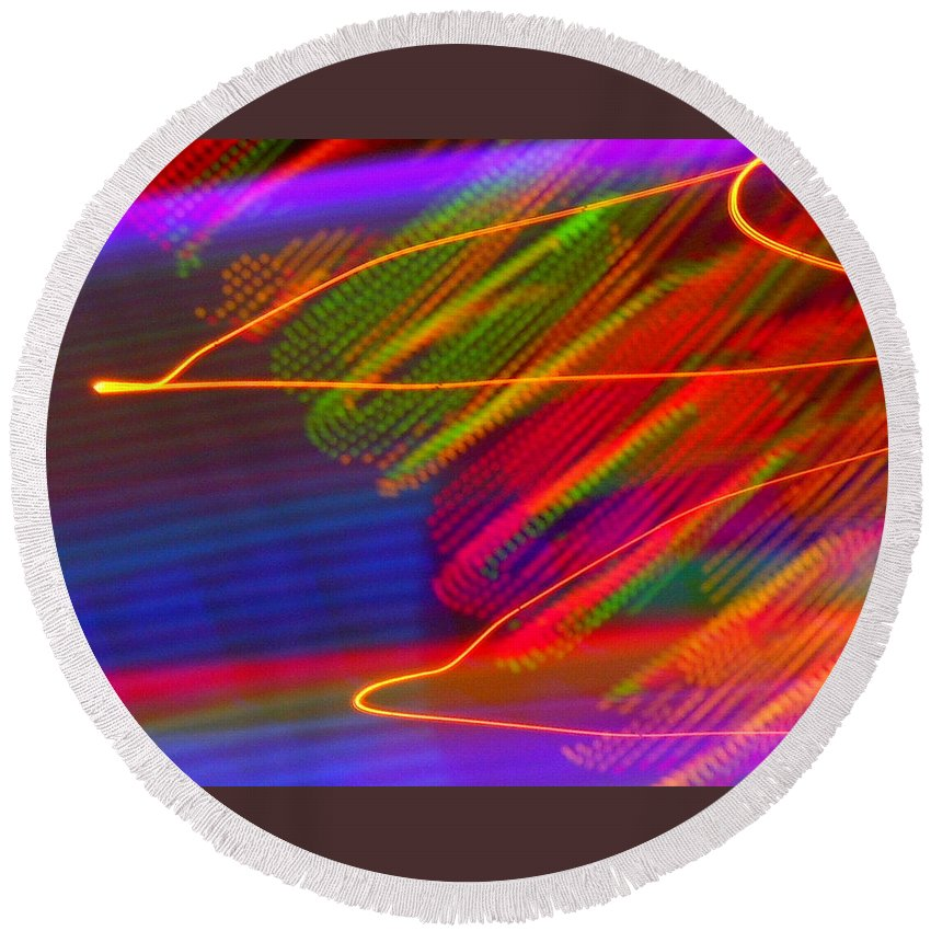Abstract Round Beach Towel featuring the photograph Wild Electric Sky In The Cosmos by James Welch