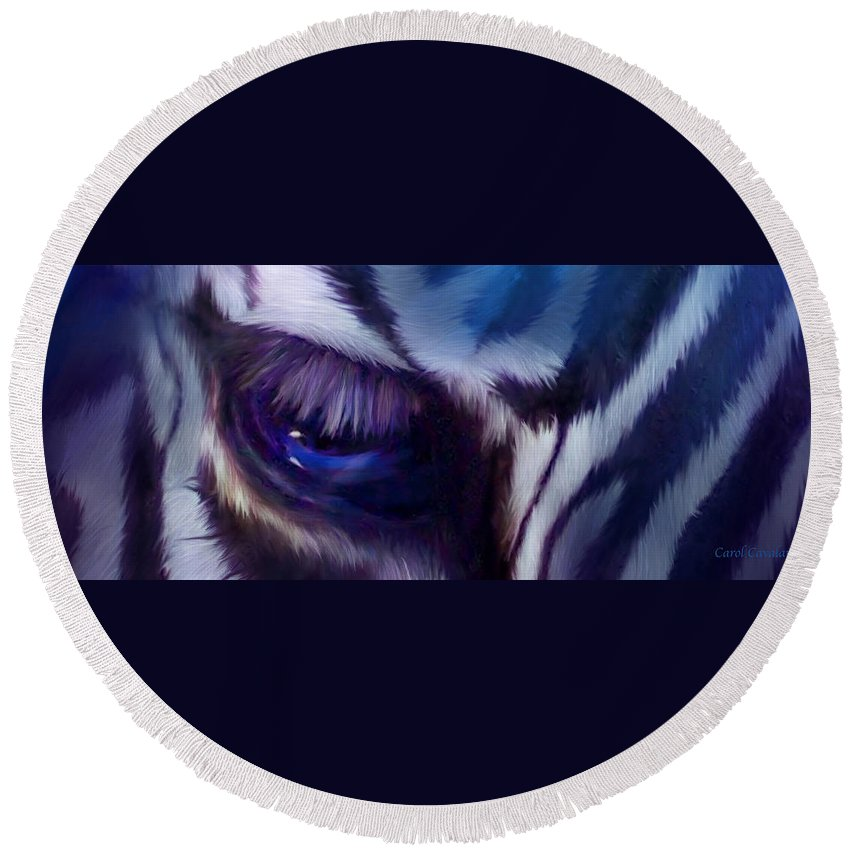 Zebra Round Beach Towel featuring the mixed media Wild Eyes - Zebra Blue by Carol Cavalaris