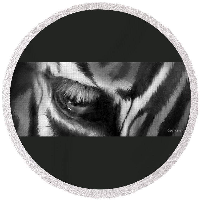 Zebra Round Beach Towel featuring the mixed media Wild Eyes - Zebra Bw by Carol Cavalaris
