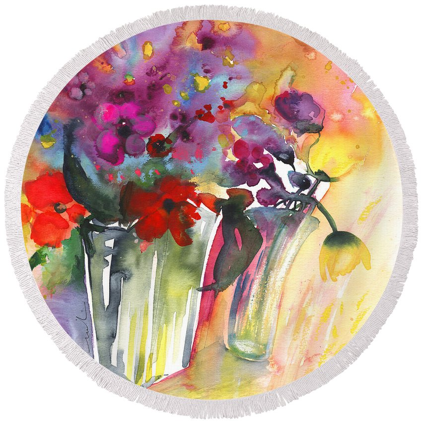 Florals Round Beach Towel featuring the painting Wild Flowers Bouquets 02 by Miki De Goodaboom