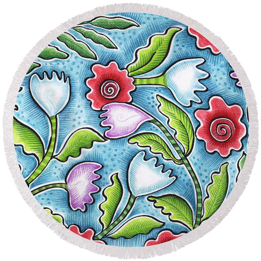 Leafy Round Beach Towel featuring the painting Wild Flowers by Elaine Jackson
