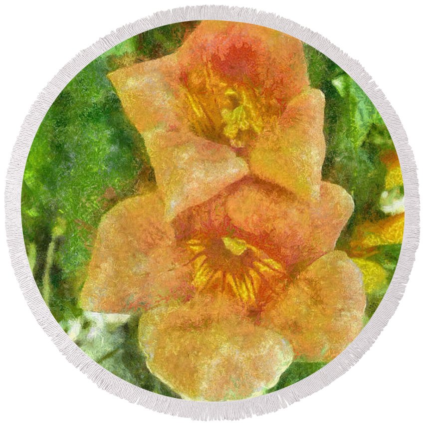 Bloom Round Beach Towel featuring the painting Wild Flowers by Jeffrey Kolker