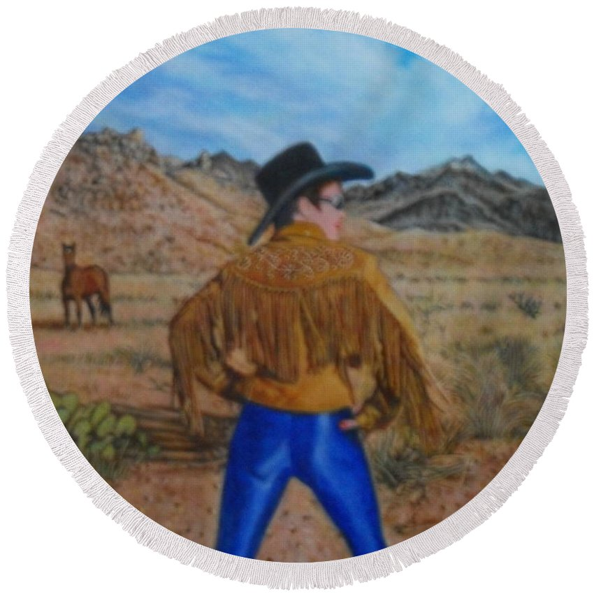 New Round Beach Towel featuring the painting Wild Girls Of The West by James Welch