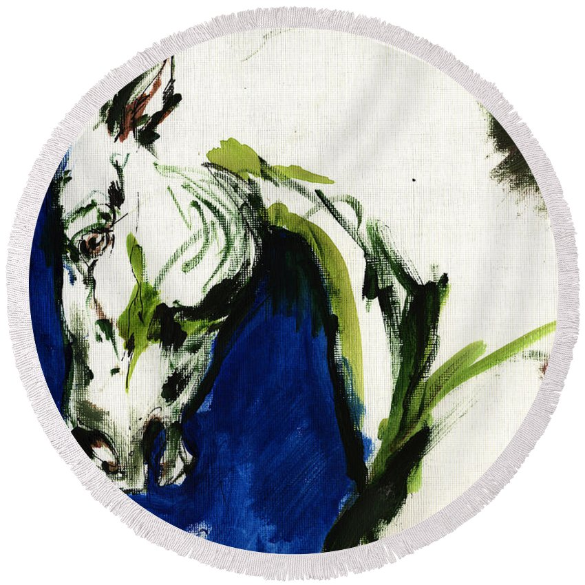 Horse Artwork Round Beach Towel featuring the painting Wild Horse by Angel Ciesniarska