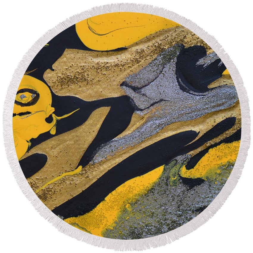 Bold Abstract Round Beach Towel featuring the painting Wild Horse Cry by Donna Blackhall