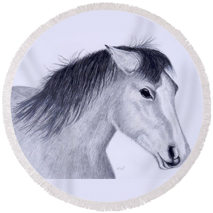 Horse Round Beach Towel featuring the drawing Wild Mustang by Maureen Beaudet