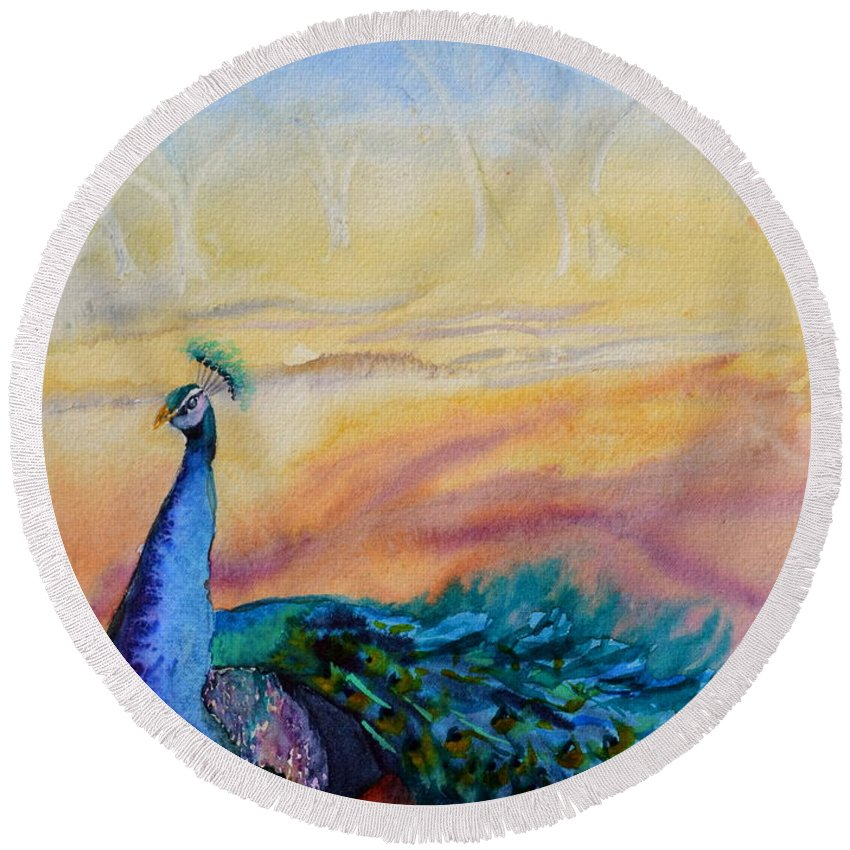 Peacock Round Beach Towel featuring the painting Wild Peacock by Beverley Harper Tinsley