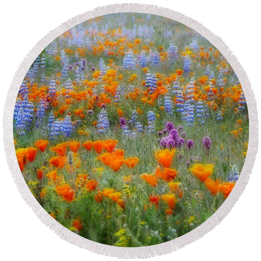Wildflowers Round Beach Towel featuring the photograph Wildflower Dreamin by Lynn Bauer