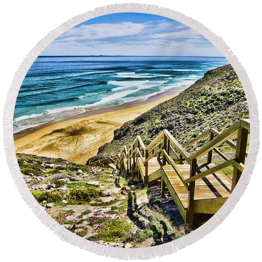 Wildflowers Round Beach Towel featuring the photograph Wildflower Steps V2 by Douglas Barnard