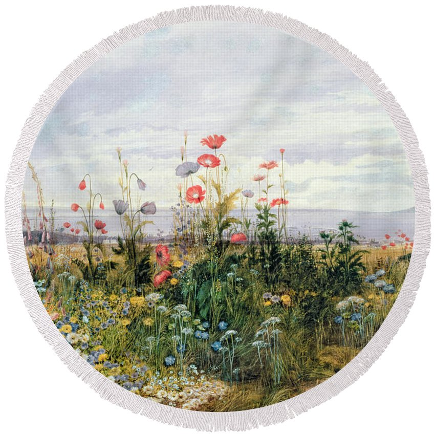 Meadow; Flowers; Irish; Wild; Landscape; Poppies Round Beach Towel featuring the painting Wildflowers With A View Of Dublin Dunleary by A Nicholl