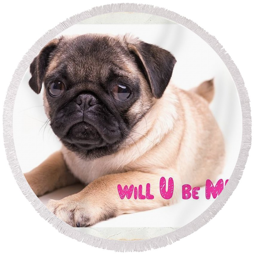 Valentine Round Beach Towel featuring the photograph Will U Be Mine? by Edward Fielding