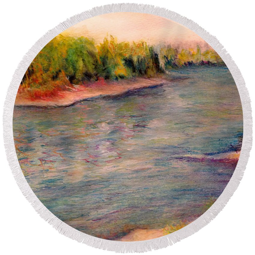 Water Round Beach Towel featuring the photograph Willamette River Reflections - Morning Light by Anna Porter