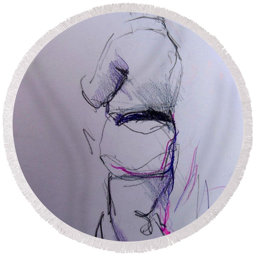 Willem Neuteboom Round Beach Towel featuring the drawing Willem N. by Lucia Hoogervorst