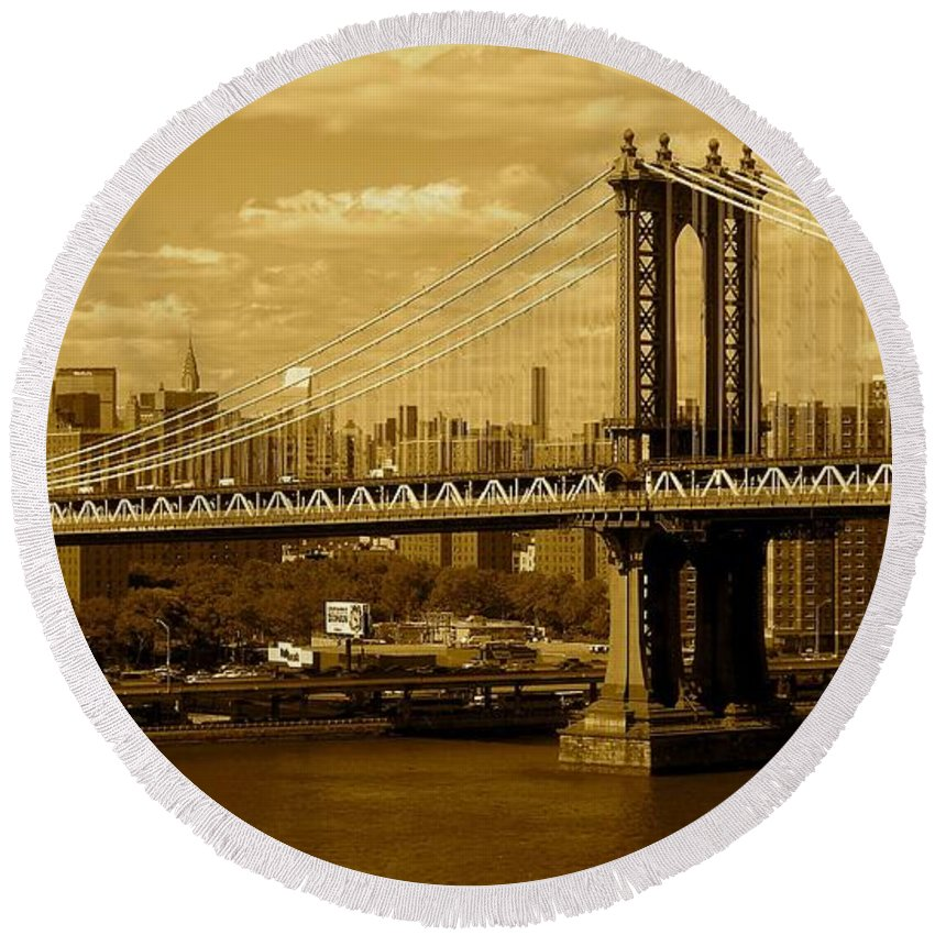 Iphone 5 Cover Cases Round Beach Towel featuring the photograph Williamsburg Bridge New York City by Monique's Fine Art