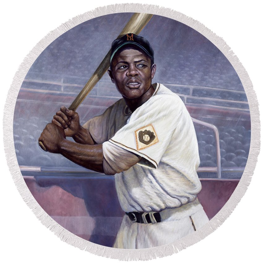Round Beach Towel featuring the painting Willie Mays by Gregory Perillo