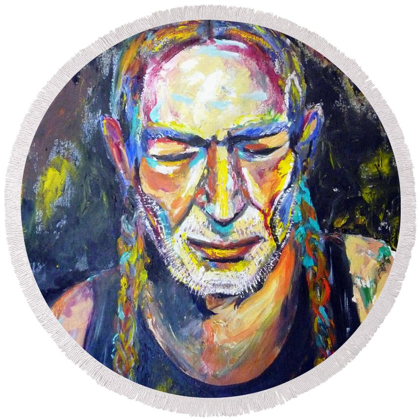 Autism Round Beach Towel featuring the painting Willie Nelson by To-Tam Gerwe