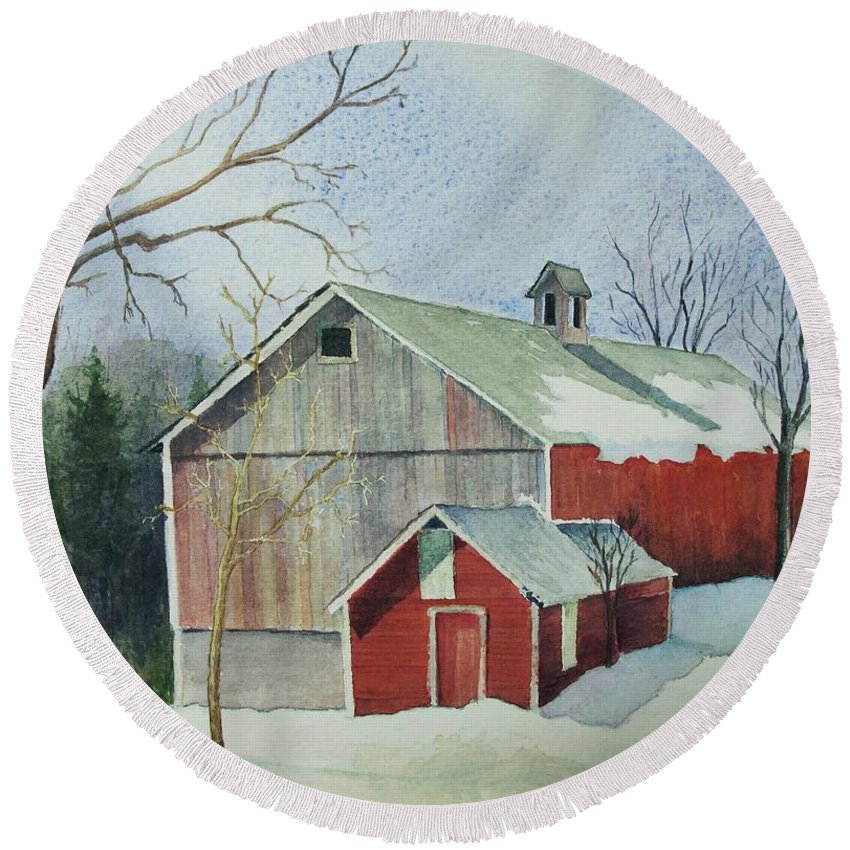 New England Round Beach Towel featuring the painting Williston Barn by Mary Ellen Mueller Legault