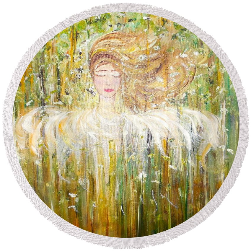 Whimsical Scene Round Beach Towel featuring the painting Willow by Sara Credito