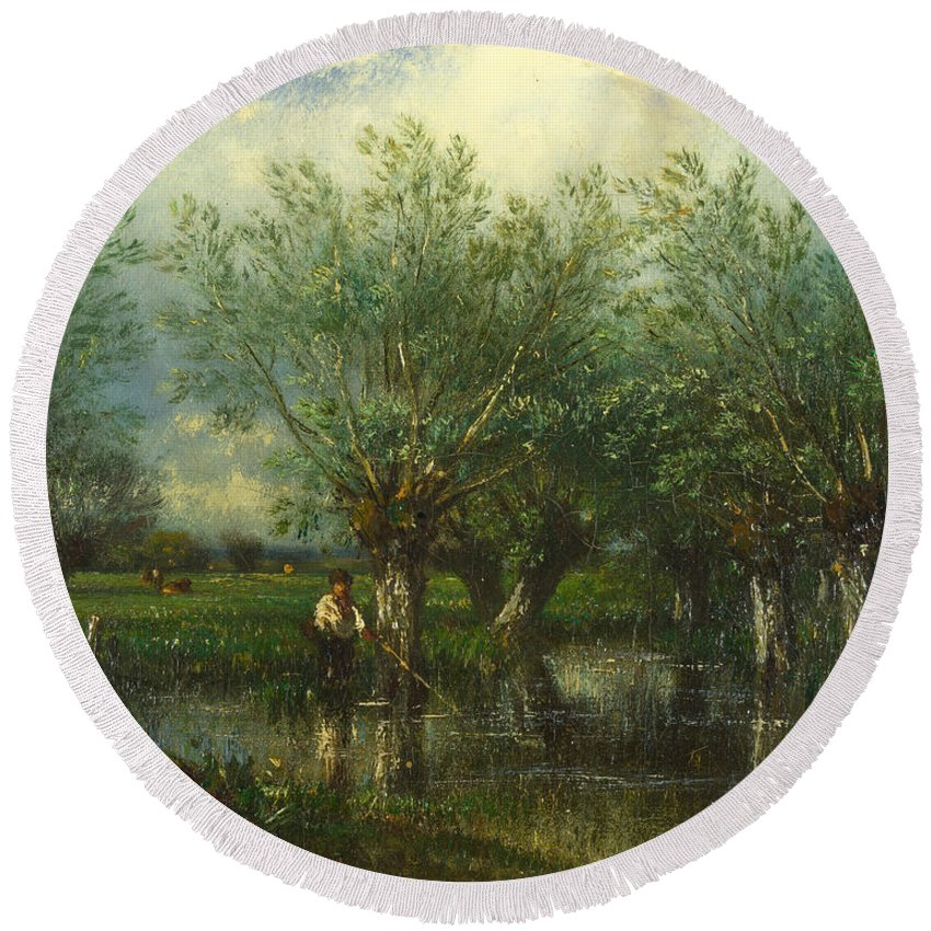 Jules Dupre Round Beach Towel featuring the painting Willows With A Man Fishing by Jules Dupre