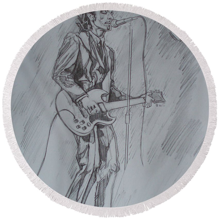 Pencil Round Beach Towel featuring the drawing Willy Deville - Steady Drivin' Man by Sean Connolly