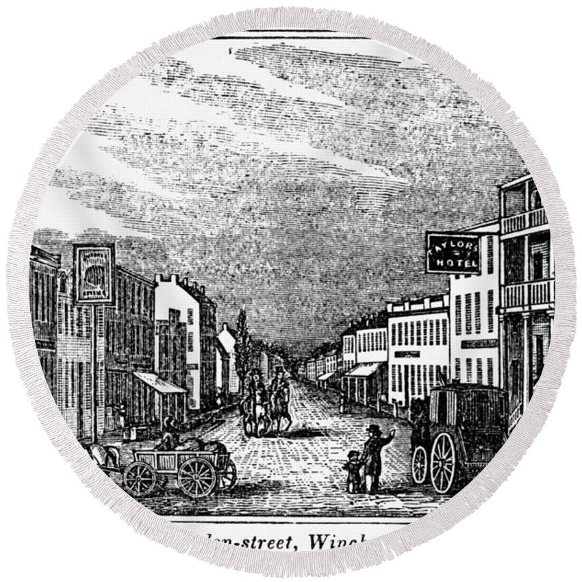 1856 Round Beach Towel featuring the painting Winchester, West Virginia by Granger