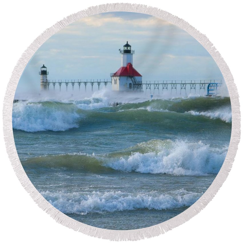 Wind Round Beach Towel featuring the photograph Wind-borne Fury by Ann Horn