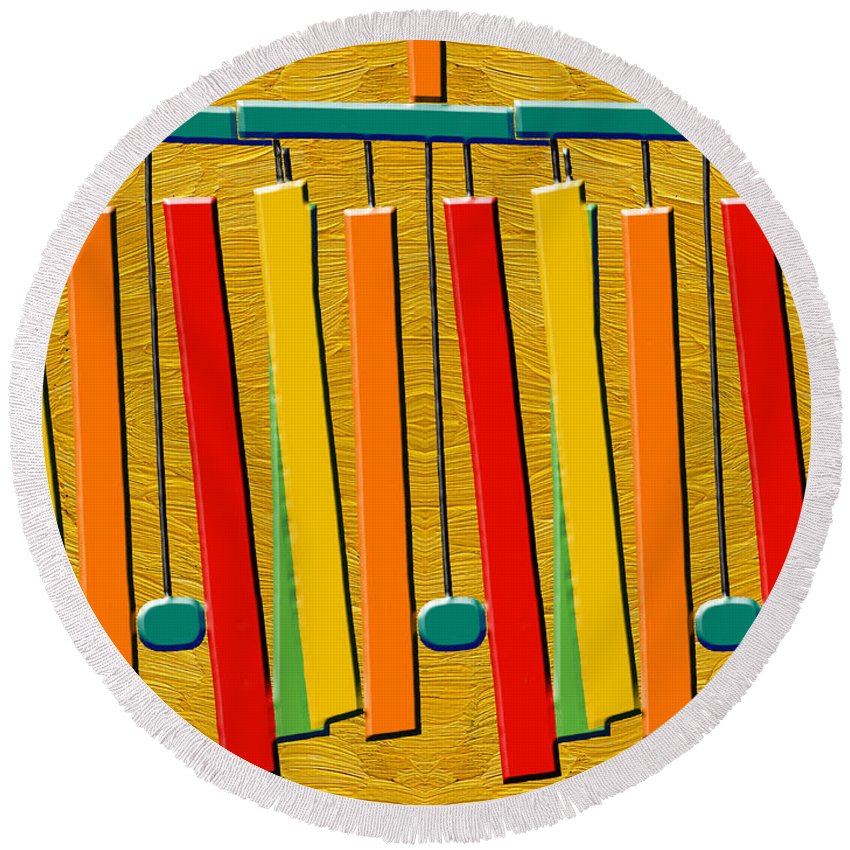 Wind Round Beach Towel featuring the painting Wind Chimes by Patrick J Murphy