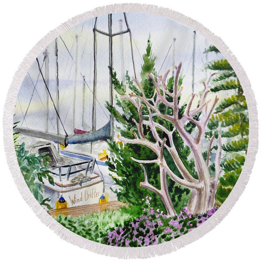 Boat Round Beach Towel featuring the painting Wind Drifter by Irina Sztukowski