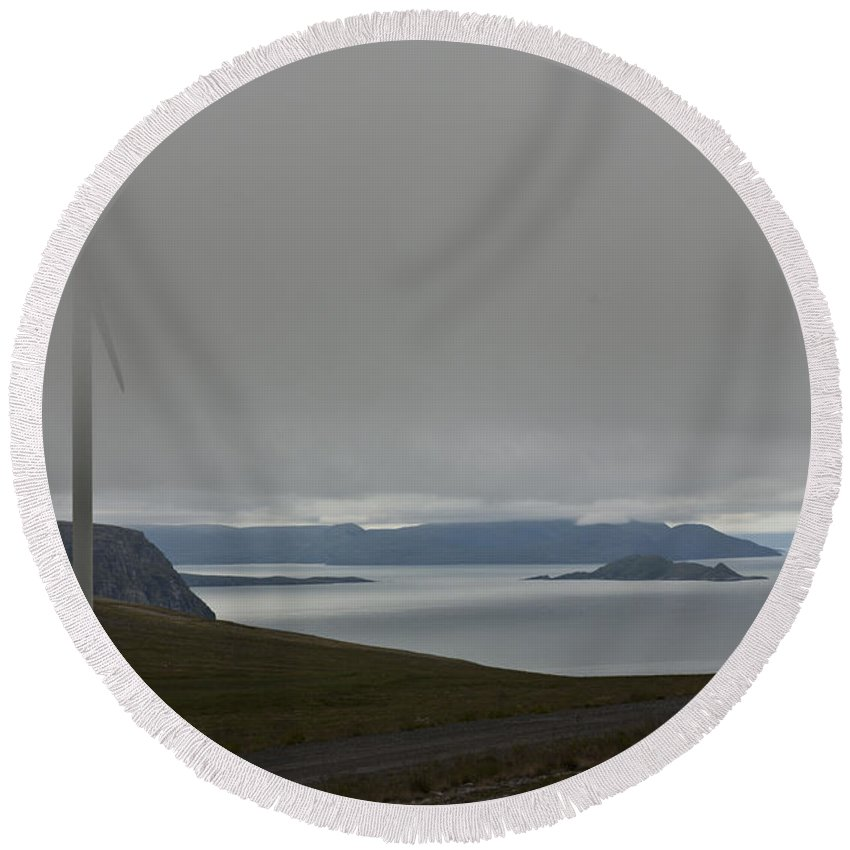 Wind Turbine Round Beach Towel featuring the photograph Wind Energy by Heiko Koehrer-Wagner