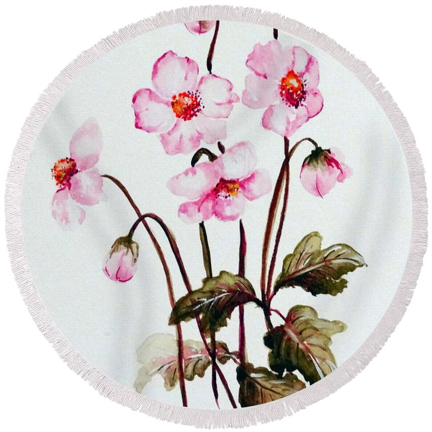 Florals Round Beach Towel featuring the painting Wind Flowers by Karin Dawn Kelshall- Best