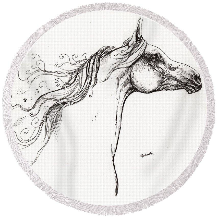 Fairytale Round Beach Towel featuring the drawing Wind In The Mane 1 by Angel Ciesniarska