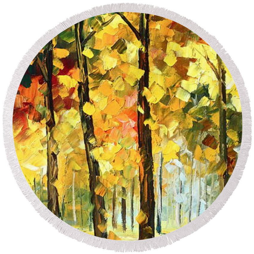 Afremov Round Beach Towel featuring the painting Wind Of Dreams 1 by Leonid Afremov