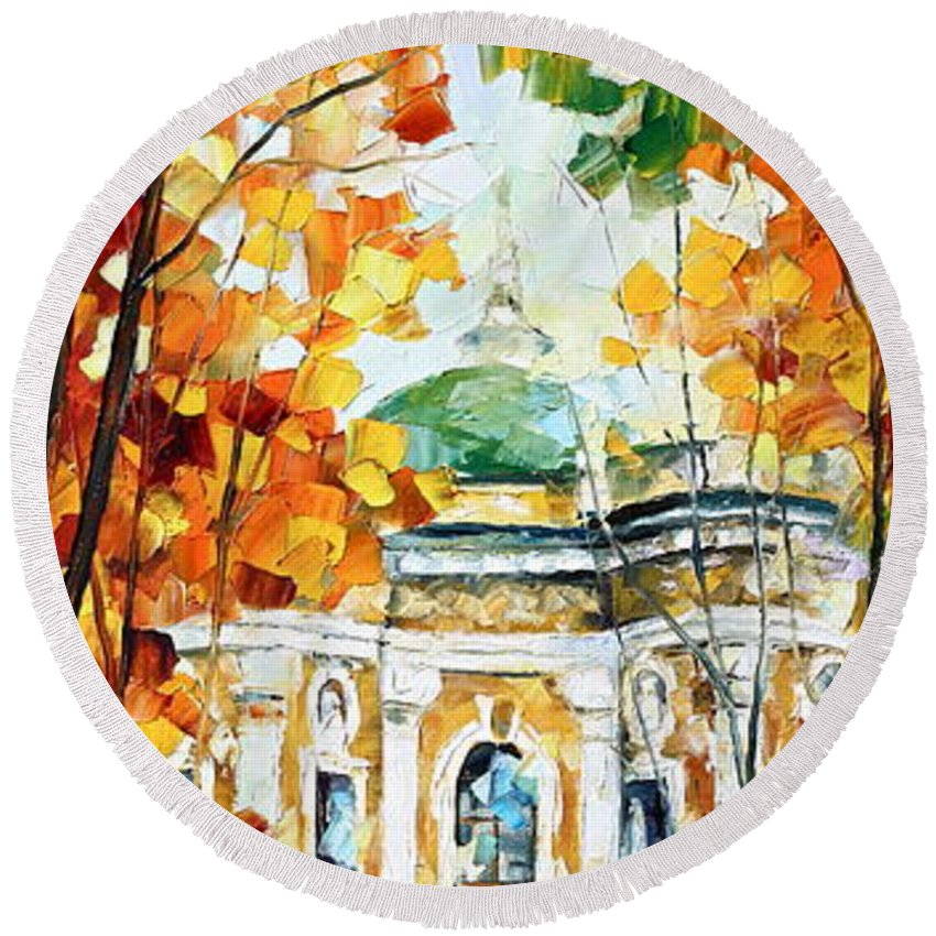 Afremov Round Beach Towel featuring the painting Wind Of Dreams 2 by Leonid Afremov