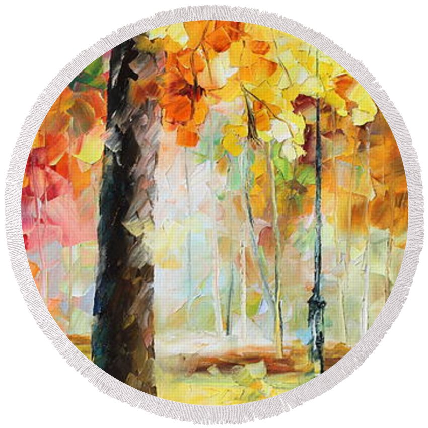 Afremov Round Beach Towel featuring the painting Wind Of Dreams 3 by Leonid Afremov