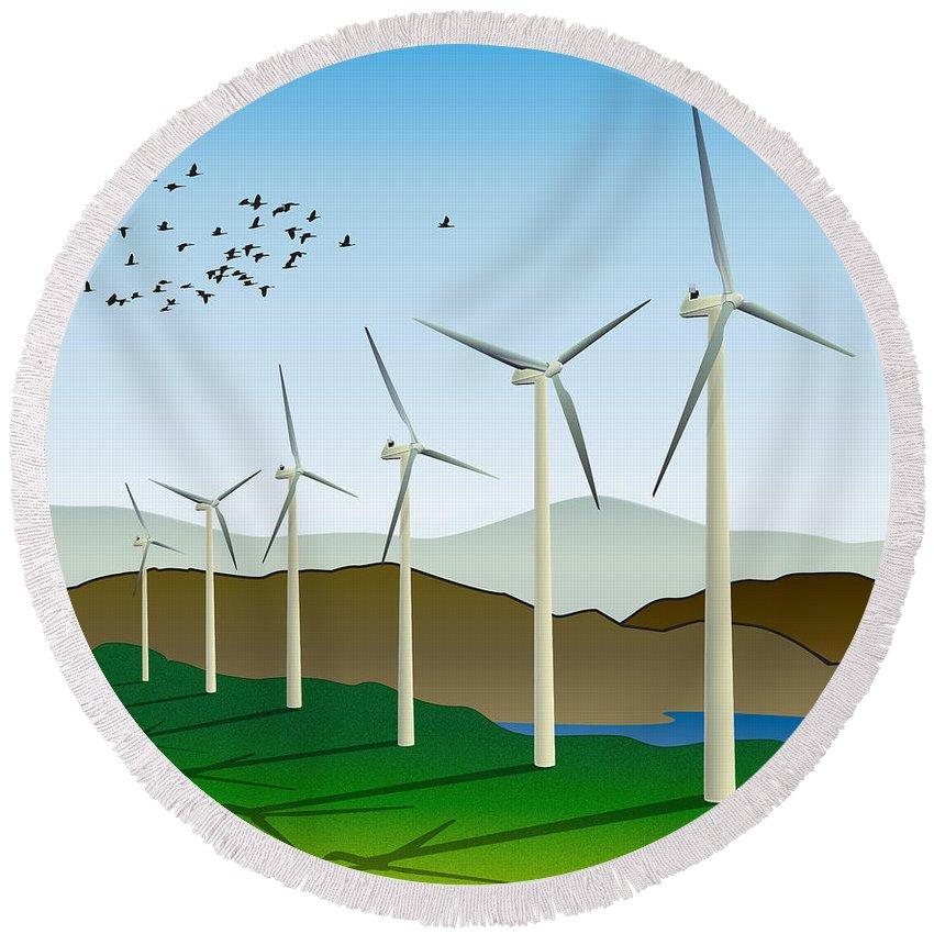 Wind Power Round Beach Towel featuring the digital art Wind Power by Doug LaRue