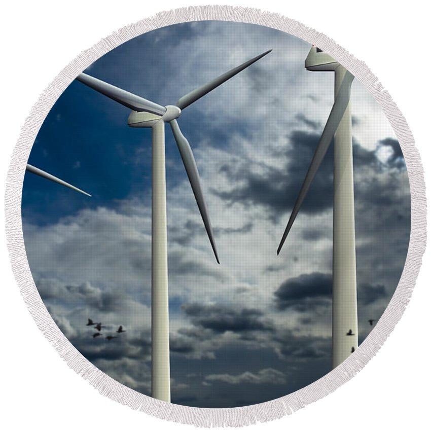 Wind Turbines Blue Sky Round Beach Towel featuring the digital art Wind Turbines Blue Sky by Doug LaRue