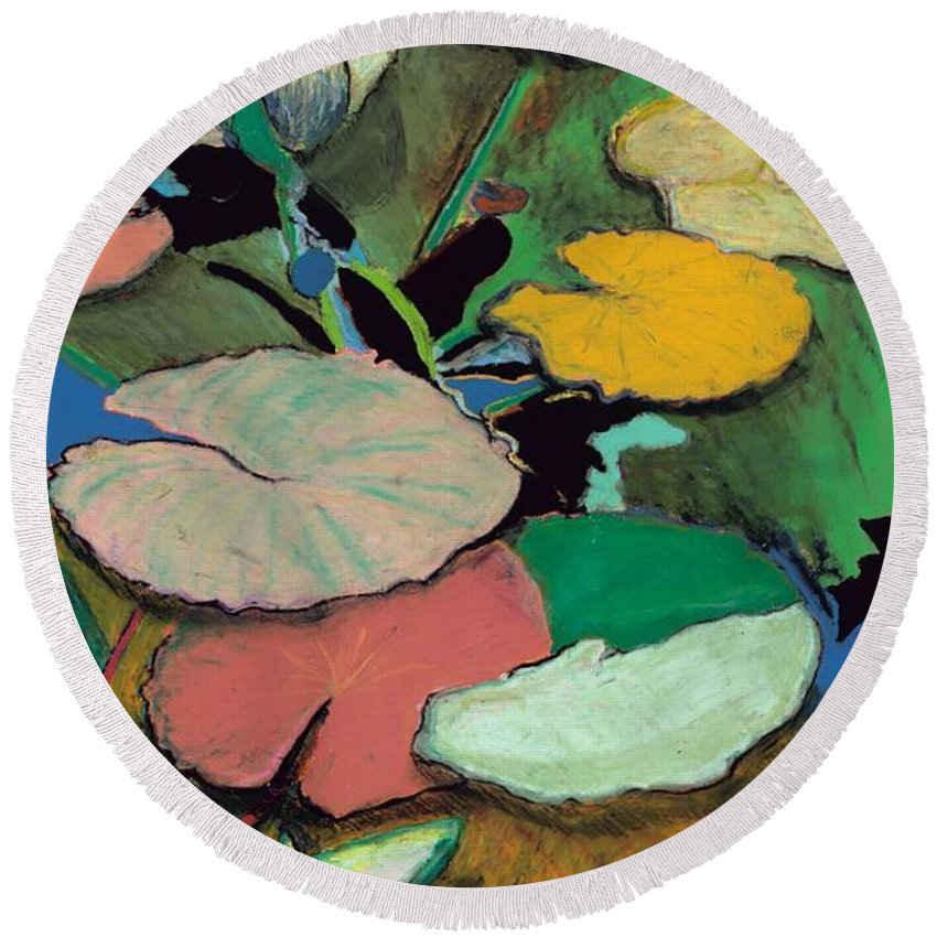 Landscape Round Beach Towel featuring the painting Windchime Spring by Allan P Friedlander