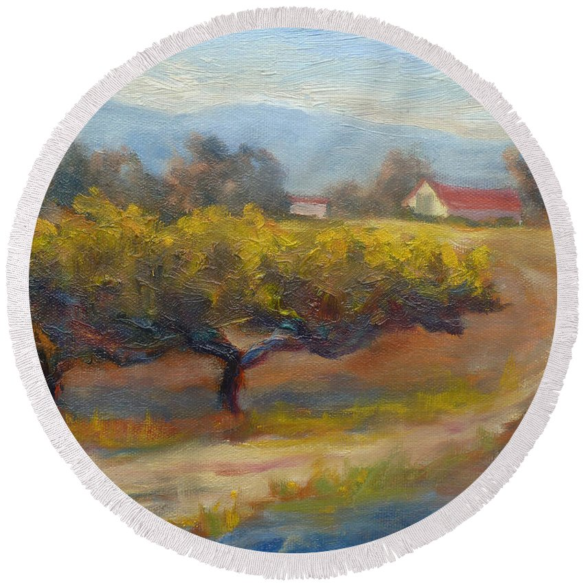 Vineyards Round Beach Towel featuring the painting Winding Road by Carolyn Jarvis